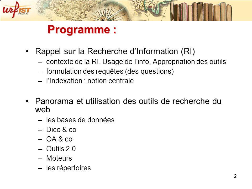 2 Programme : Rappel sur la Recherche dInformation (RI) –contexte de la RI, Usage de linfo, Appropriation des outils –formulation des requêtes (des qu