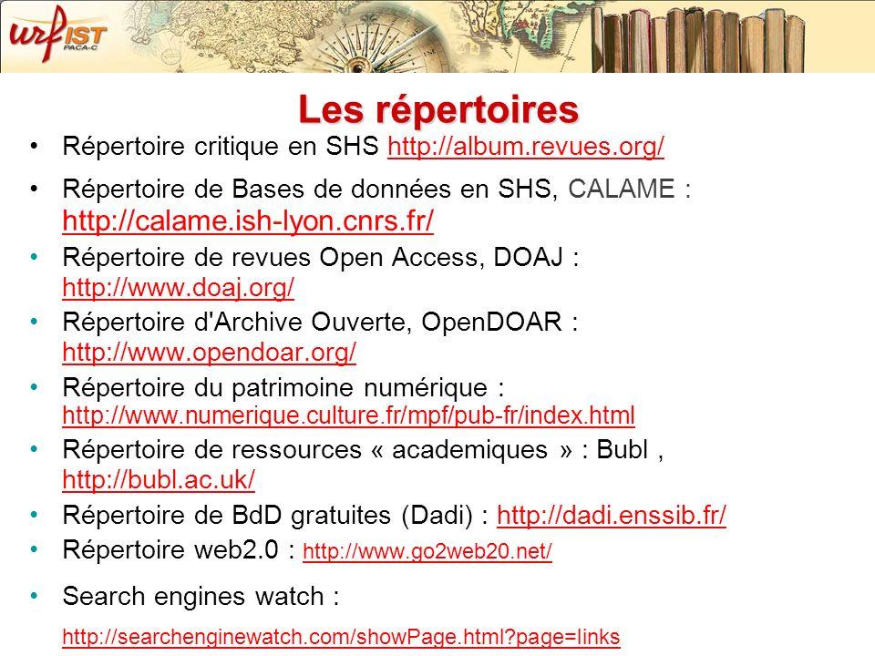 Les répertoires Répertoire critique en SHS http://album.revues.org/http://album.revues.org/ Répertoire de Bases de données en SHS, CALAME : http://cal