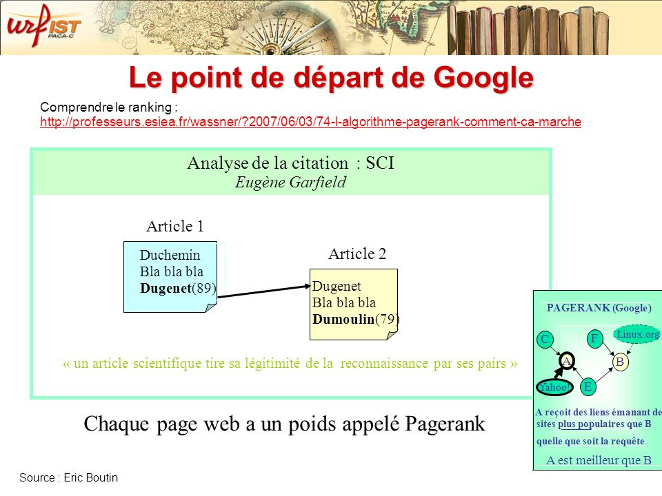 Le point de départ de Google « un article scientifique tire sa légitimité de la reconnaissance par ses pairs » Analyse de la citation : SCI Eugène Gar
