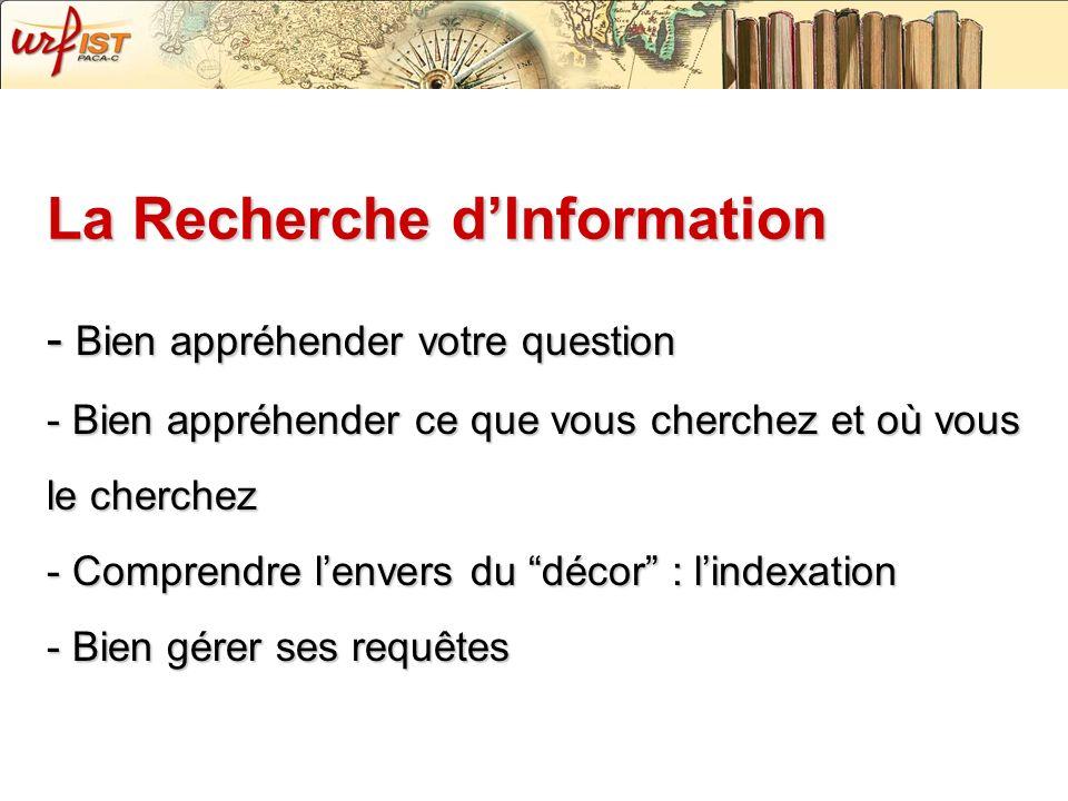 La Recherche dInformation - Bien appréhender votre question - Bien appréhender ce que vous cherchez et où vous le cherchez - Comprendre lenvers du déc