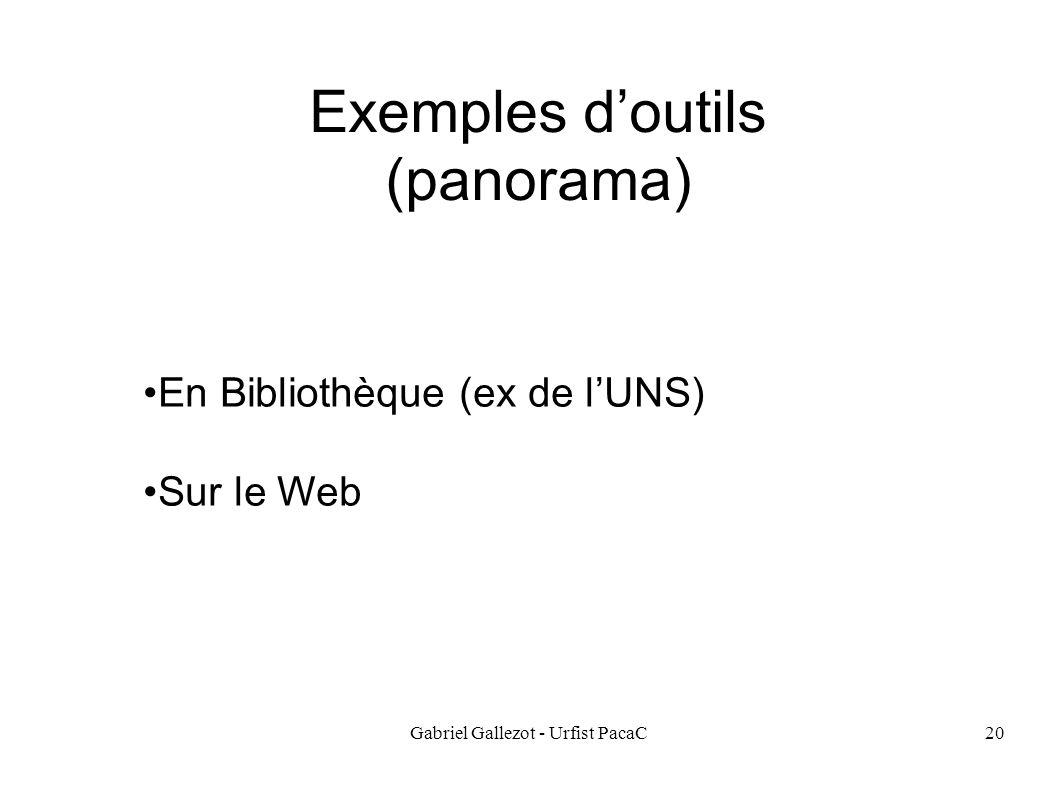 Gabriel Gallezot - Urfist PacaC20 Exemples doutils (panorama) En Bibliothèque (ex de lUNS) Sur le Web
