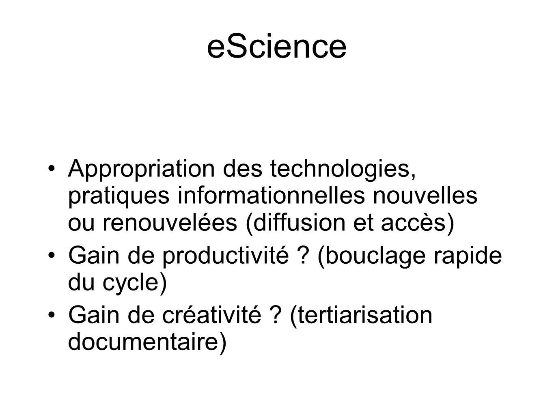 eScience Appropriation des technologies, pratiques informationnelles nouvelles ou renouvelées (diffusion et accès) Gain de productivité .