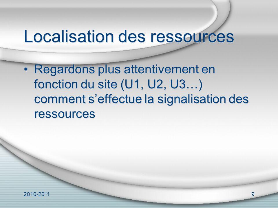 2010-20119 Localisation des ressources Regardons plus attentivement en fonction du site (U1, U2, U3…) comment seffectue la signalisation des ressources