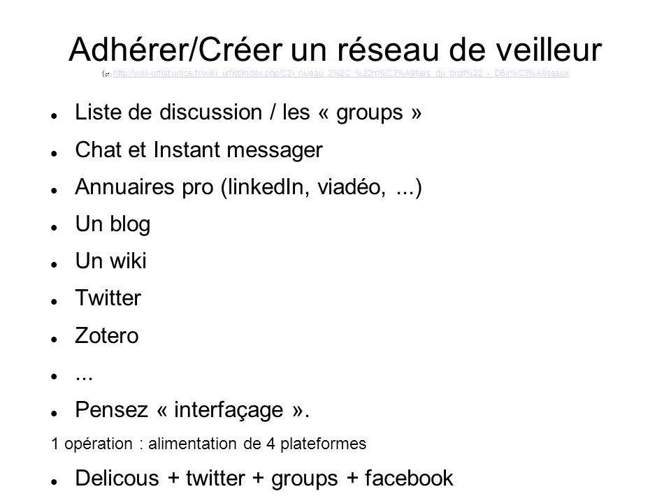 Adhérer/Créer un réseau de veilleur ( cf : http://wiki-urfist.unice.fr/wiki_urfist/index.php/C2i_niveau_2%2C_%22m%C3%A9tiers_du_droit%22_-_D6/r%C3%A9seauxhttp://wiki-urfist.unice.fr/wiki_urfist/index.php/C2i_niveau_2%2C_%22m%C3%A9tiers_du_droit%22_-_D6/r%C3%A9seaux Liste de discussion / les « groups » Chat et Instant messager Annuaires pro (linkedIn, viadéo,...) Un blog Un wiki Twitter Zotero...