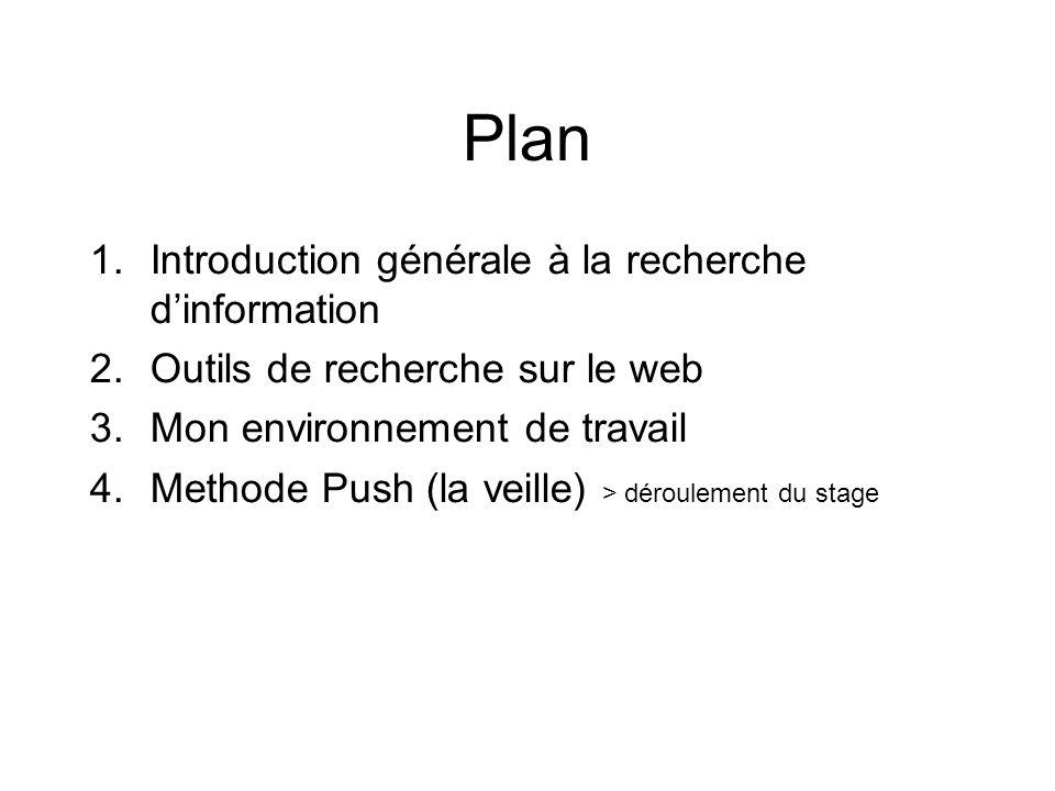 Plan 1.Introduction générale à la recherche dinformation 2.Outils de recherche sur le web 3.Mon environnement de travail 4.Methode Push (la veille) > déroulement du stage