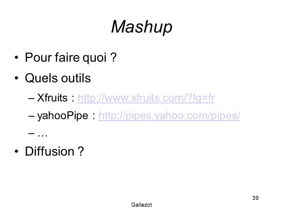 Gallezot 39 Mashup Pour faire quoi ? Quels outils –Xfruits : http://www.xfruits.com/?lg=frhttp://www.xfruits.com/?lg=fr –yahooPipe : http://pipes.yaho