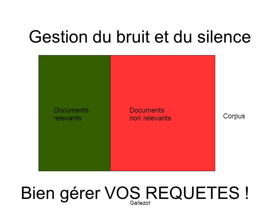 Gallezot non relevants (bruit) relevants Documents retrouvés Documents non retrouvés Relevants (silence) non relevants Documents retrouvés Document non retrouvés Optimiser sa recherche d information Bien gérer VOS REQUETES !