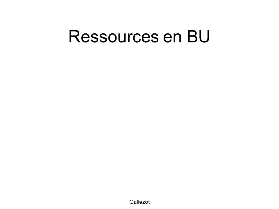 Gallezot Ressources en BU