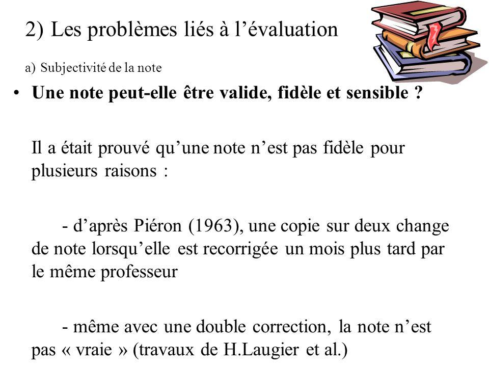 2) Les problèmes liés à lévaluation a) Subjectivité de la note Une note peut-elle être valide, fidèle et sensible .
