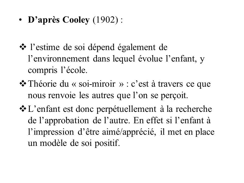 Daprès Cooley (1902) : lestime de soi dépend également de lenvironnement dans lequel évolue lenfant, y compris lécole.