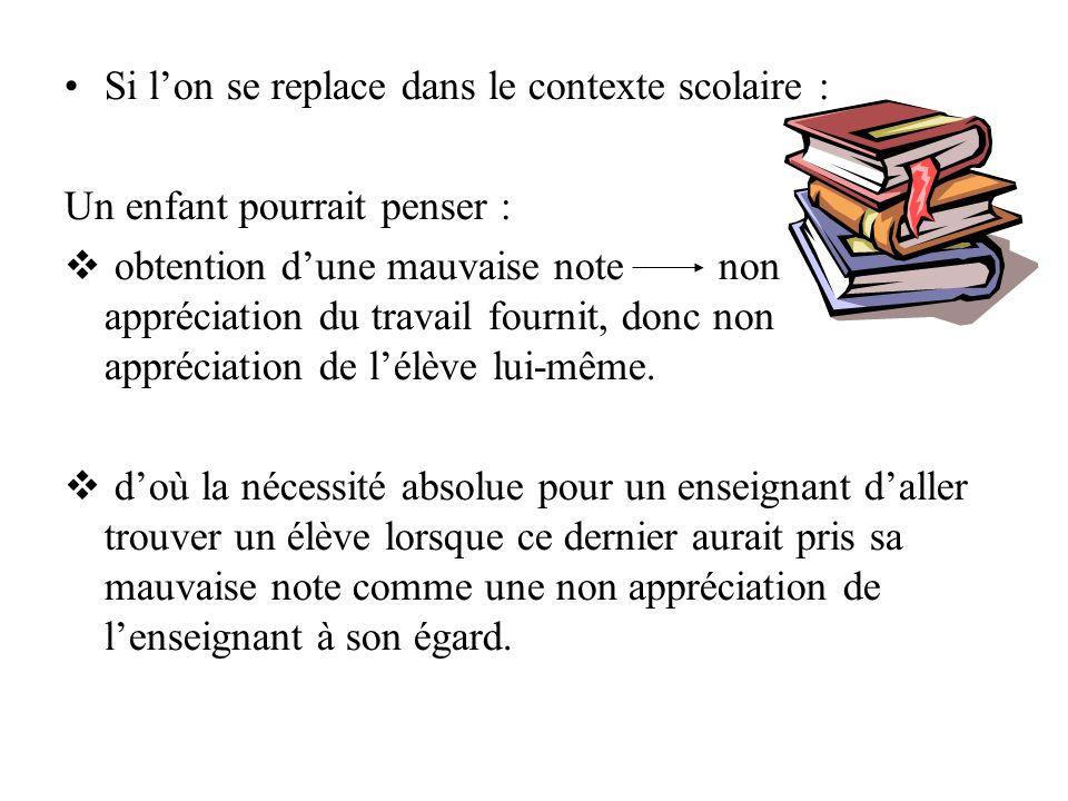 Si lon se replace dans le contexte scolaire : Un enfant pourrait penser : obtention dune mauvaise note non appréciation du travail fournit, donc non appréciation de lélève lui-même.