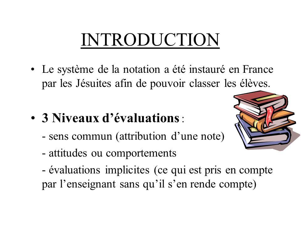 INTRODUCTION Le système de la notation a été instauré en France par les Jésuites afin de pouvoir classer les élèves.