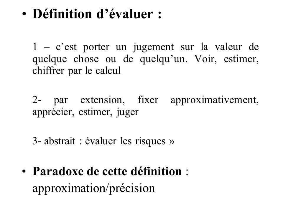 Définition dévaluer : 1 – cest porter un jugement sur la valeur de quelque chose ou de quelquun.