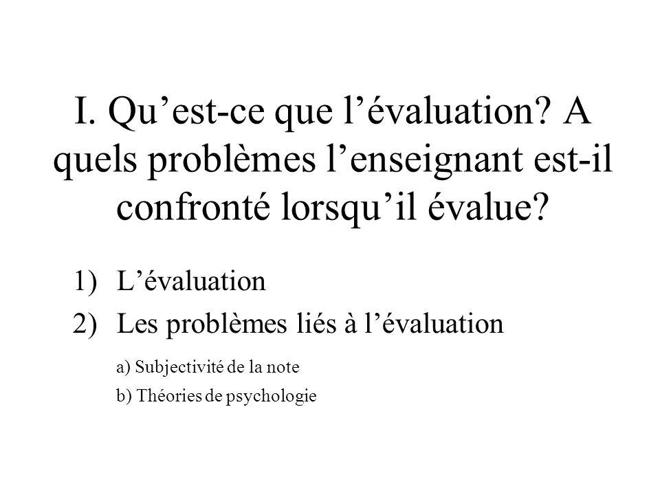 I. Quest-ce que lévaluation. A quels problèmes lenseignant est-il confronté lorsquil évalue.
