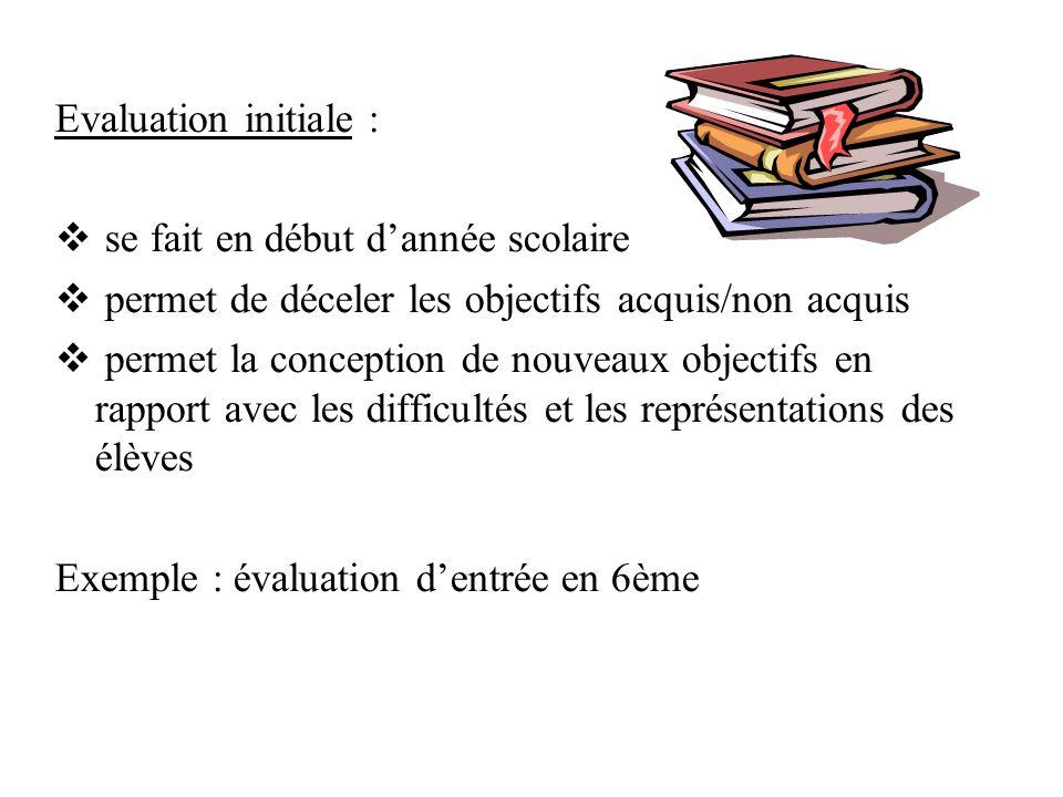 Evaluation initiale : se fait en début dannée scolaire permet de déceler les objectifs acquis/non acquis permet la conception de nouveaux objectifs en rapport avec les difficultés et les représentations des élèves Exemple : évaluation dentrée en 6ème