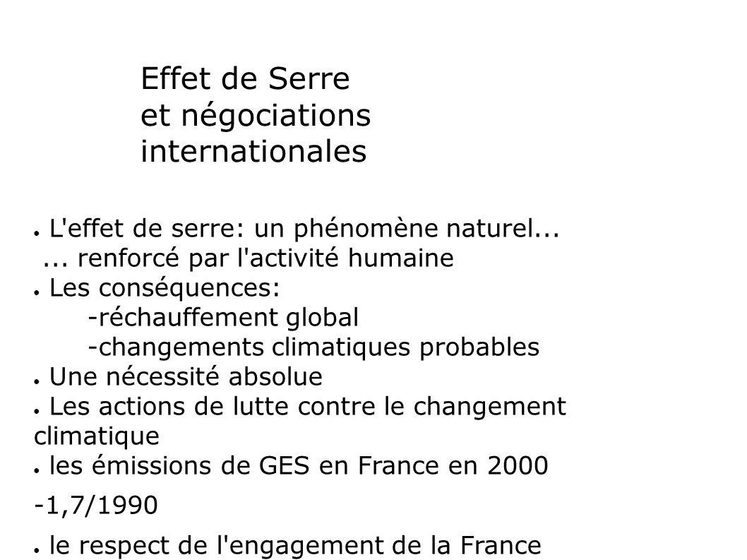 Effet de Serre et négociations internationales L effet de serre: un phénomène naturel......