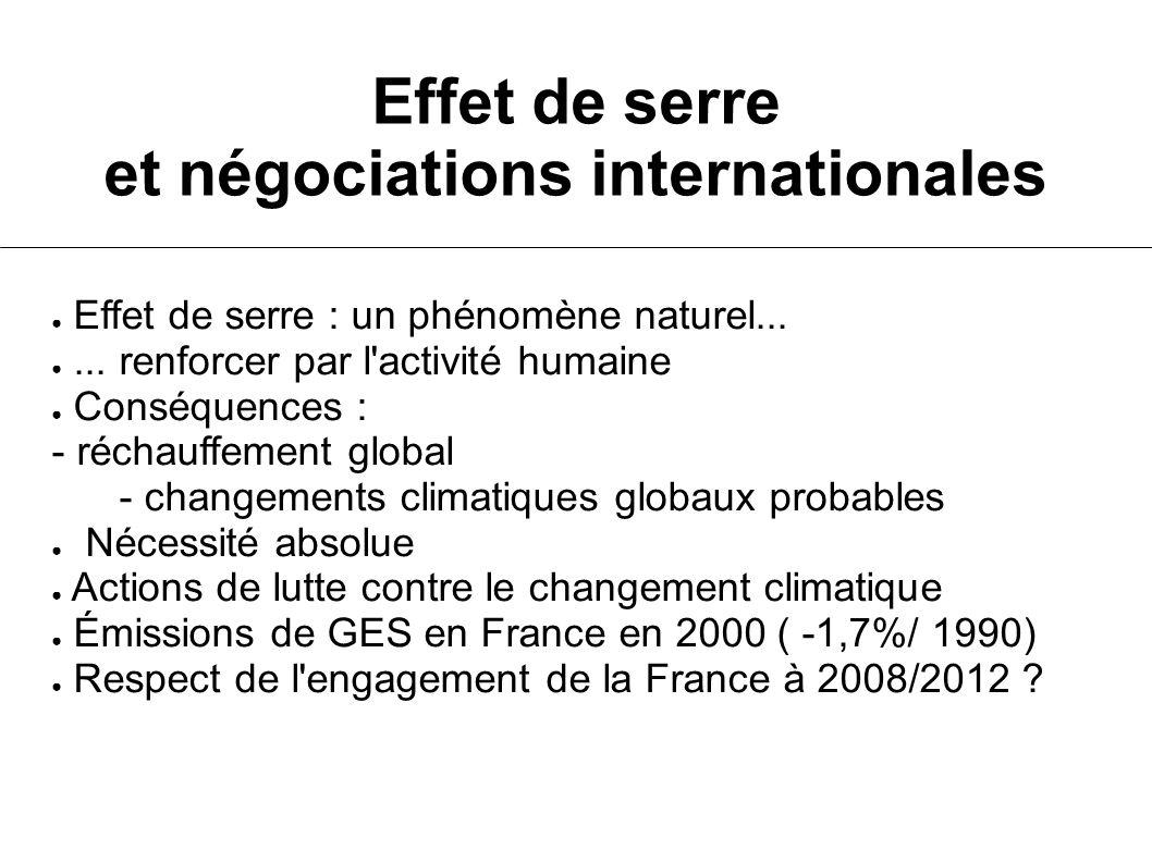 Effet de serre et négociations internationales Effet de serre : un phénomène naturel...... renforcer par l'activité humaine Conséquences : - réchauffe