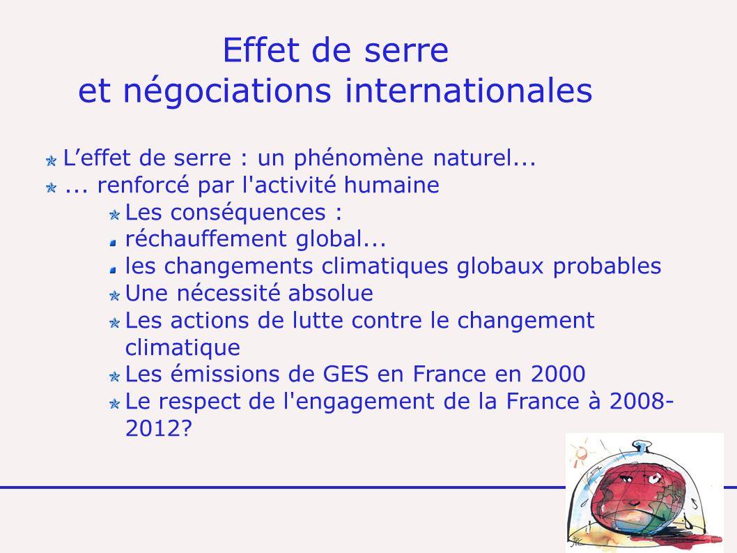 Effet de serre et négociations internationales Leffet de serre : un phénomène naturel......