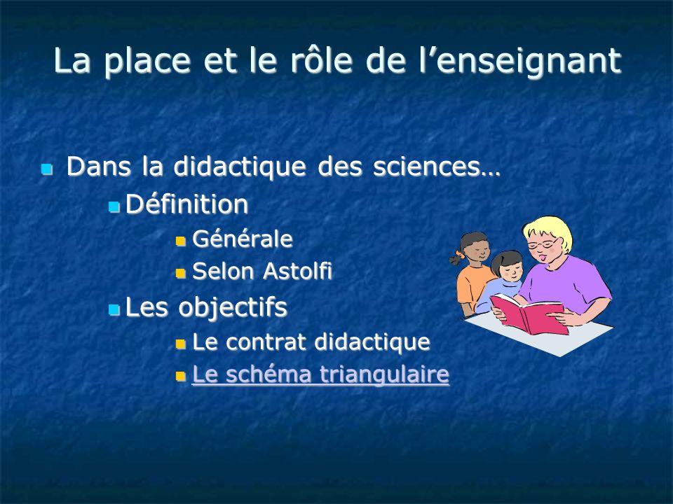 La place et le rôle de lenseignant Dans la didactique des sciences… Dans la didactique des sciences… Définition Définition Générale Générale Selon Ast