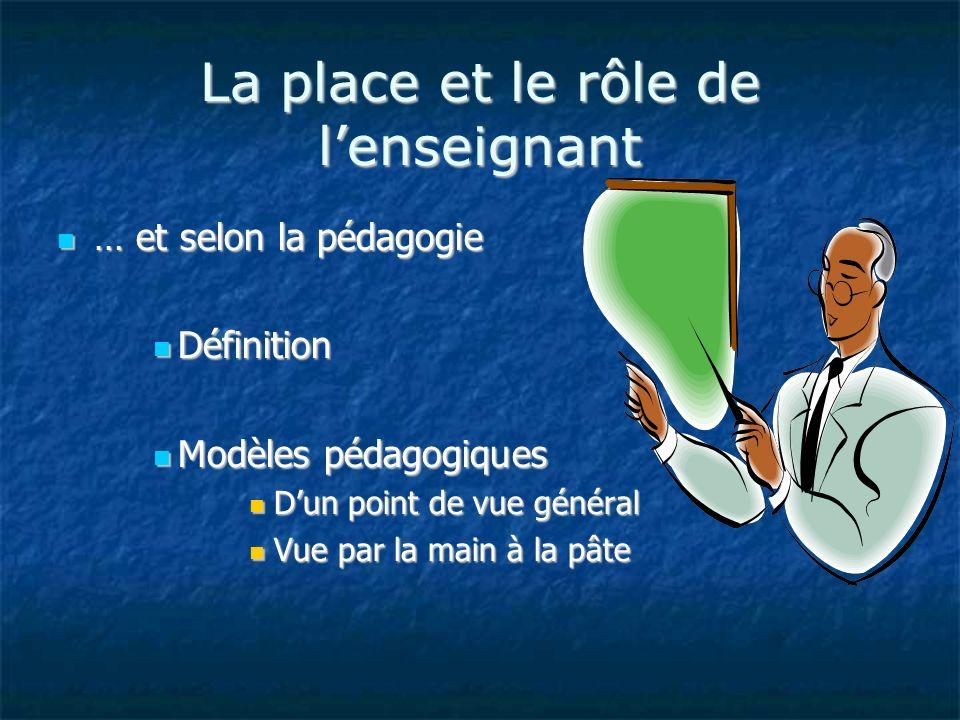 La place et le rôle de lenseignant … et selon la pédagogie … et selon la pédagogie Définition Définition Modèles pédagogiques Modèles pédagogiques Dun