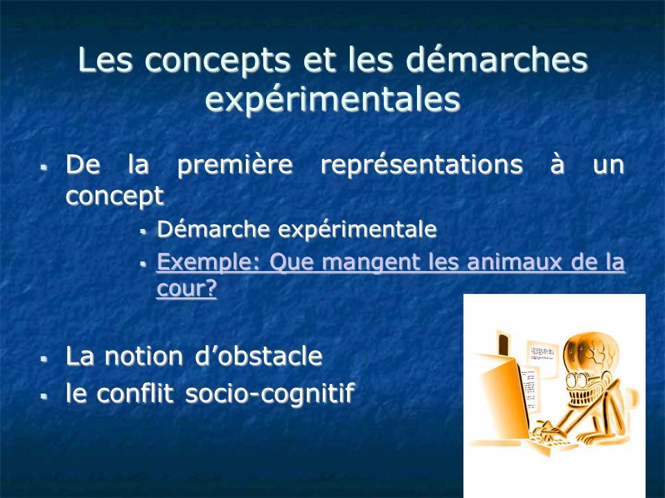 Les concepts et les démarches expérimentales De la première représentations à un concept De la première représentations à un concept Démarche expérime