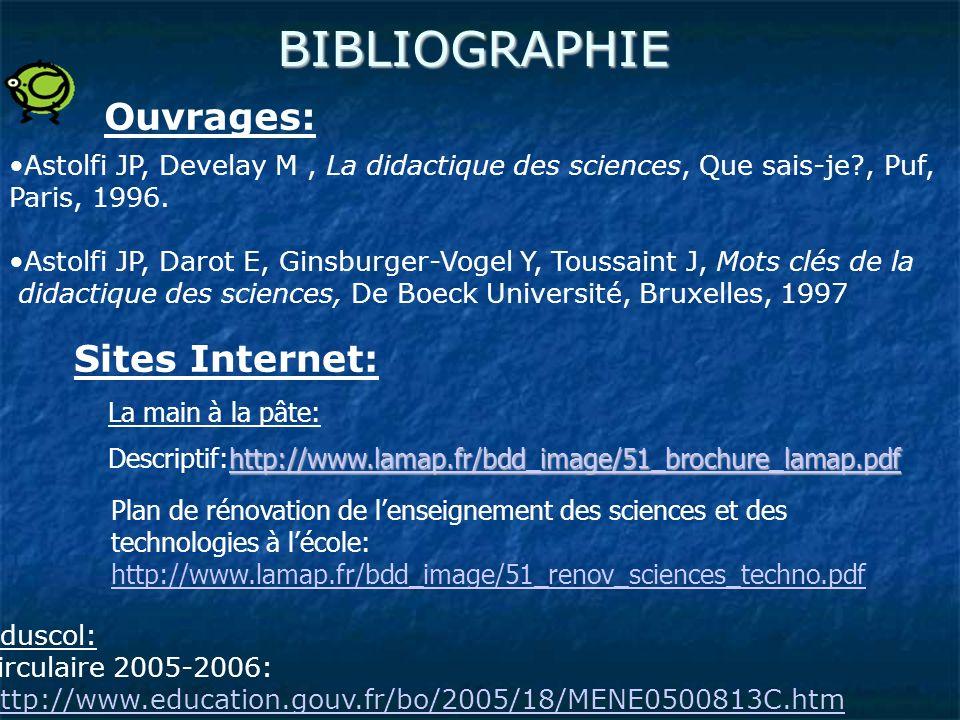 BIBLIOGRAPHIE Eduscol: circulaire 2005-2006: http://www.education.gouv.fr/bo/2005/18/MENE0500813C.htm http://www.education.gouv.fr/bo/2005/18/MENE0500