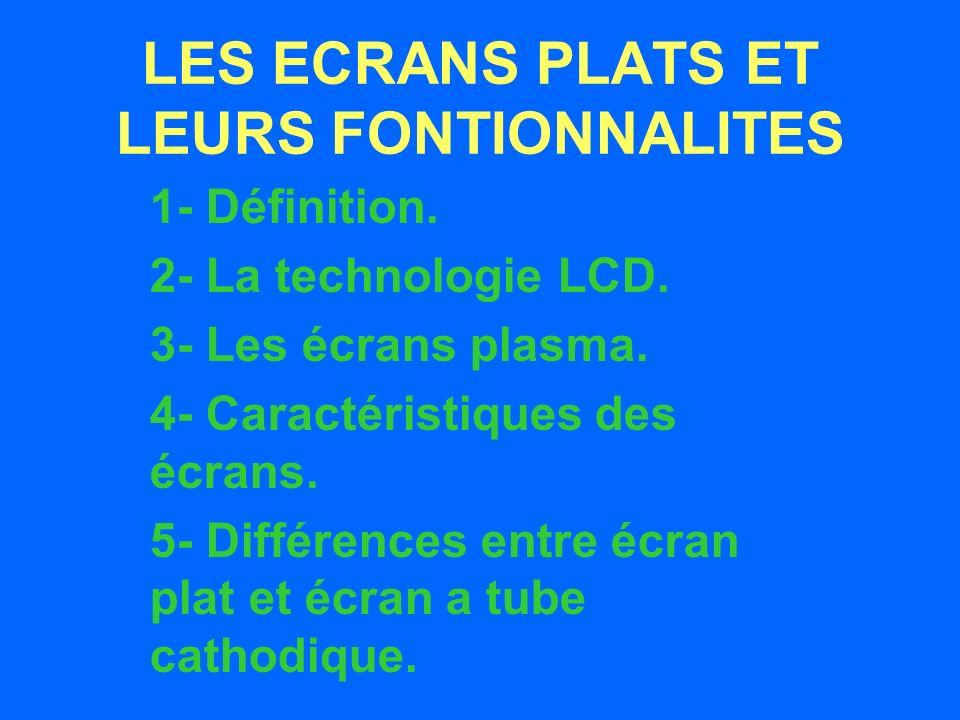 LES ECRANS PLATS ET LEURS FONTIONNALITES 1- Définition.