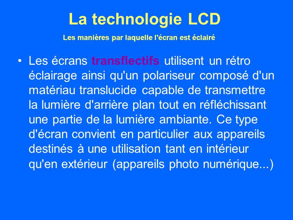 Les écrans transflectifs utilisent un rétro éclairage ainsi qu un polariseur composé d un matériau translucide capable de transmettre la lumière d arrière plan tout en réfléchissant une partie de la lumière ambiante.
