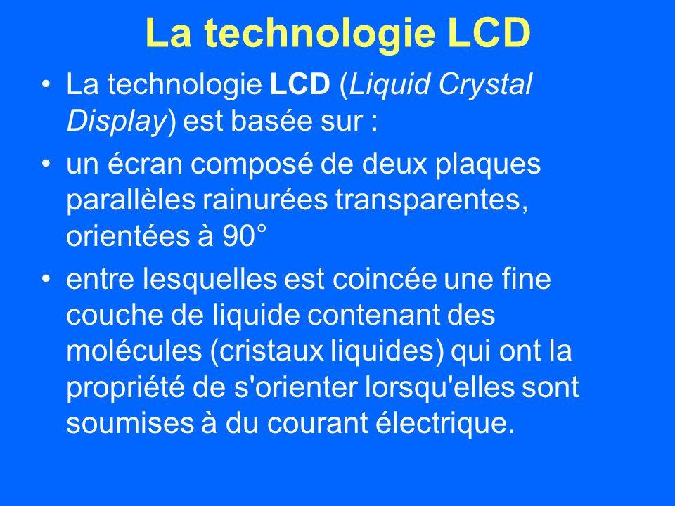 La technologie LCD La technologie LCD (Liquid Crystal Display) est basée sur : un écran composé de deux plaques parallèles rainurées transparentes, orientées à 90° entre lesquelles est coincée une fine couche de liquide contenant des molécules (cristaux liquides) qui ont la propriété de s orienter lorsqu elles sont soumises à du courant électrique.