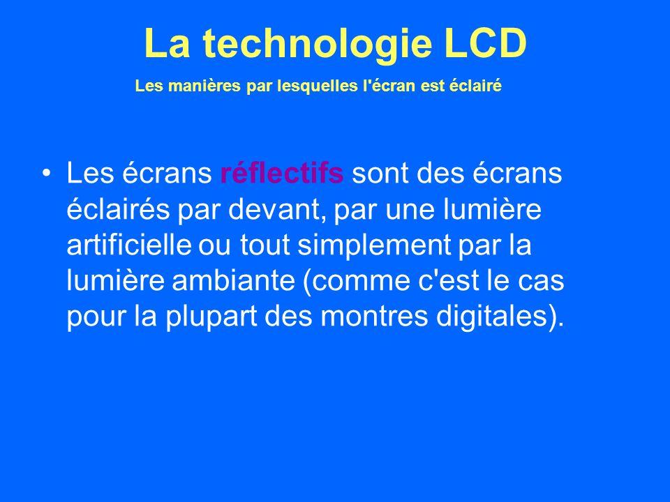 Les écrans réflectifs sont des écrans éclairés par devant, par une lumière artificielle ou tout simplement par la lumière ambiante (comme c est le cas pour la plupart des montres digitales).