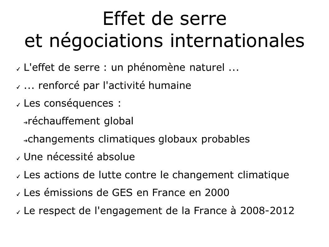 Effet de serre et négociations internationales L'effet de serre : un phénomène naturel...... renforcé par l'activité humaine Les conséquences : réchau