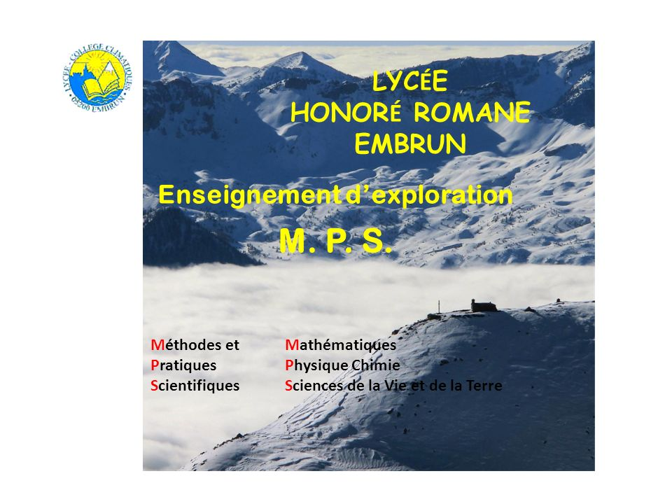 Page de couverture Enseignement dexploration M. P. S. LYC É E HONOR É ROMANE EMBRUN Méthodes etMathématiques Pratiques Physique Chimie ScientifiquesSc