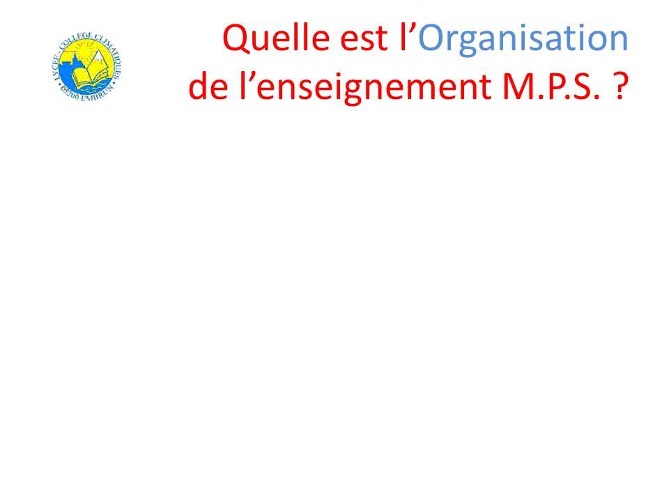 Quelle est lOrganisation de lenseignement M.P.S. ?