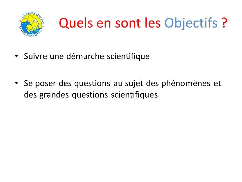 Quels en sont les Objectifs ? Suivre une démarche scientifique Se poser des questions au sujet des phénomènes et des grandes questions scientifiques