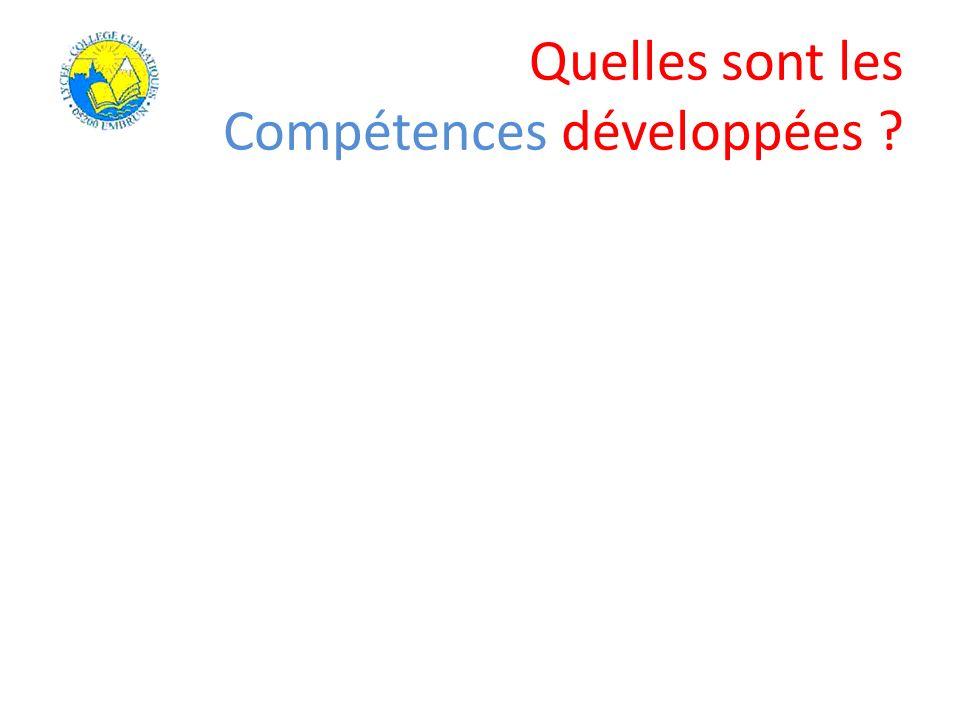 Quelles sont les Compétences développées ?