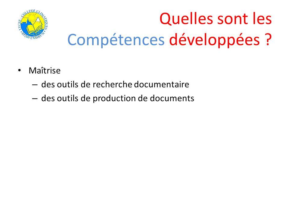 Maîtrise – des outils de recherche documentaire – des outils de production de documents