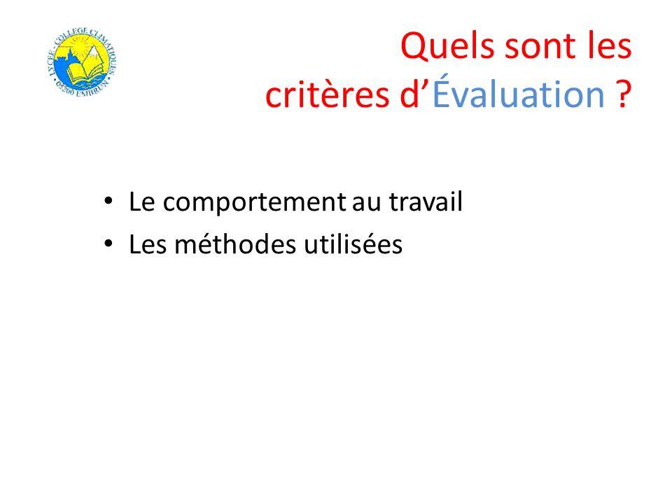 Quels sont les critères dÉvaluation ? Le comportement au travail Les méthodes utilisées