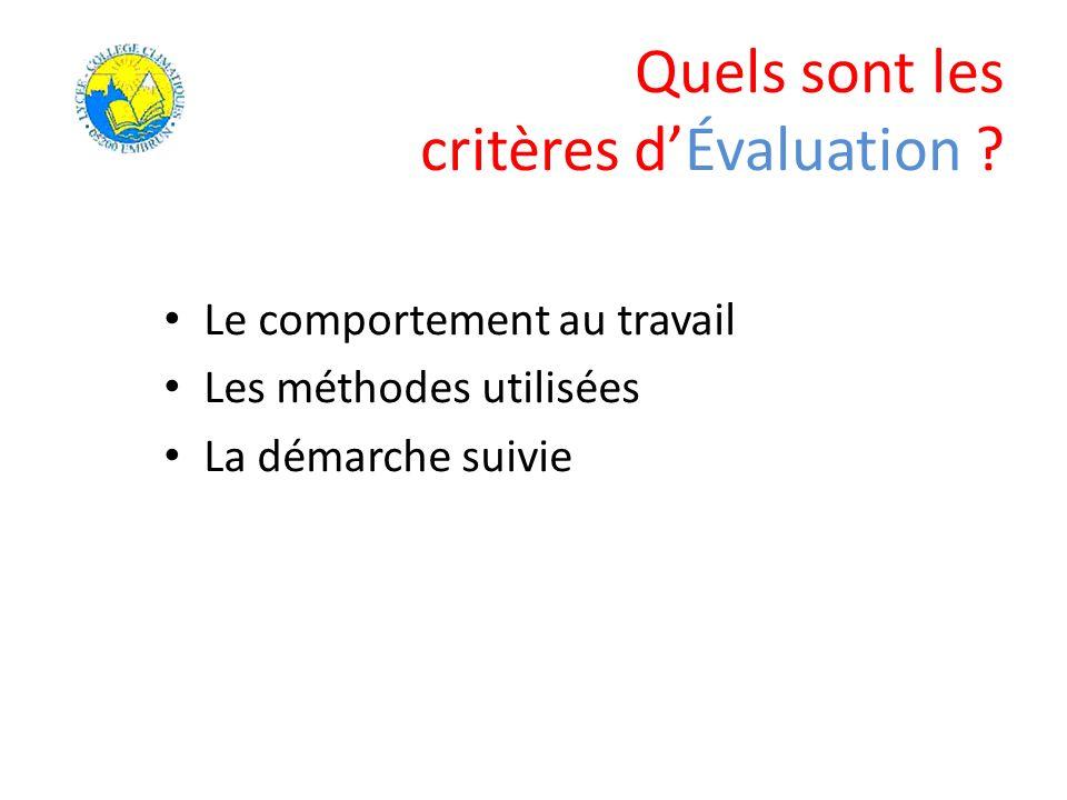 Quels sont les critères dÉvaluation ? Le comportement au travail Les méthodes utilisées La démarche suivie