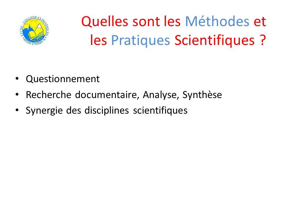 Quelles sont les Méthodes et les Pratiques Scientifiques ? Questionnement Recherche documentaire, Analyse, Synthèse Synergie des disciplines scientifi