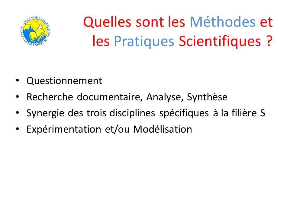 Quelles sont les Méthodes et les Pratiques Scientifiques ? Questionnement Recherche documentaire, Analyse, Synthèse Synergie des trois disciplines spé