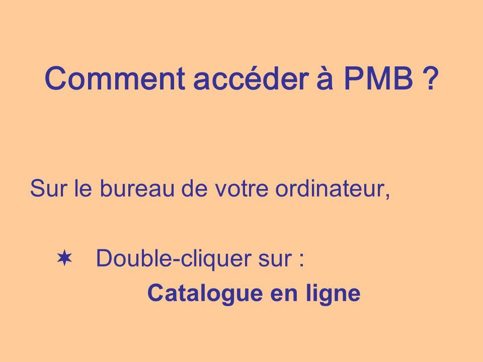 Comment accéder à PMB ? Sur le bureau de votre ordinateur, Double-cliquer sur : Catalogue en ligne