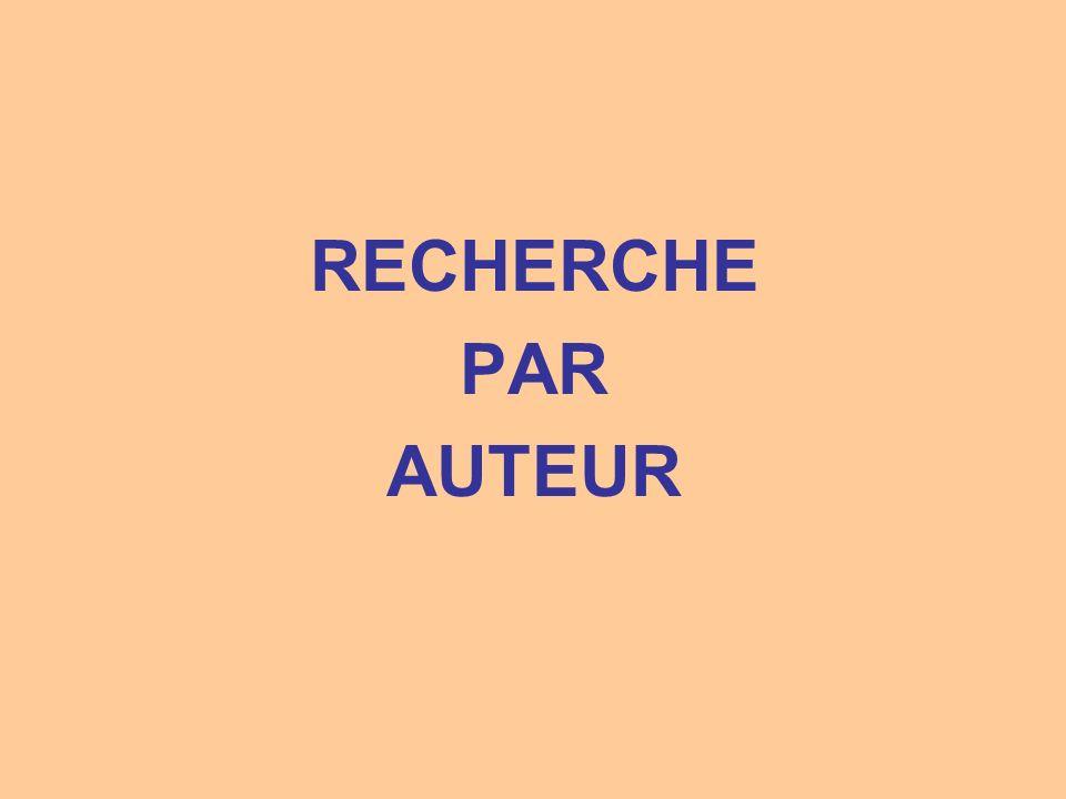 Saisir le nom de lauteur Cocher seulemen t Auteur Cliquer Rechercher Saisir le nom de lauteur Cocher seulemen t Auteur Cliquer Rechercher