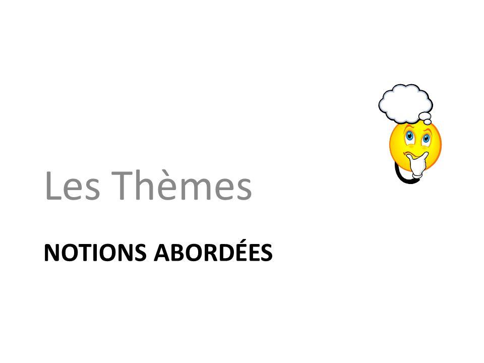 NOTIONS ABORDÉES Les Thèmes