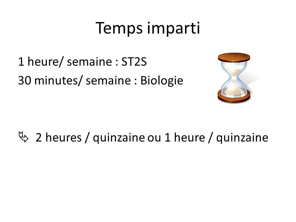 Temps imparti 1 heure/ semaine : ST2S 30 minutes/ semaine : Biologie 2 heures / quinzaine ou 1 heure / quinzaine
