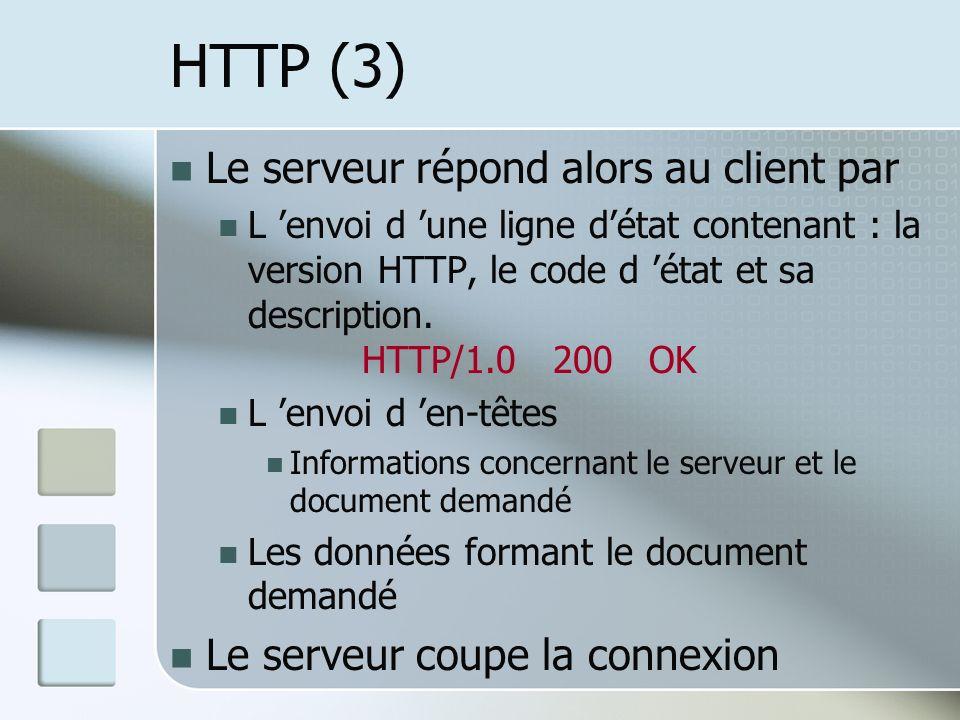 HTTP (3) Le serveur répond alors au client par L envoi d une ligne détat contenant : la version HTTP, le code d état et sa description.