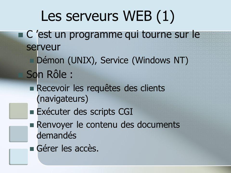 Les serveurs WEB (1) C est un programme qui tourne sur le serveur Démon (UNIX), Service (Windows NT) Son Rôle : Recevoir les requêtes des clients (navigateurs) Exécuter des scripts CGI Renvoyer le contenu des documents demandés Gérer les accès.
