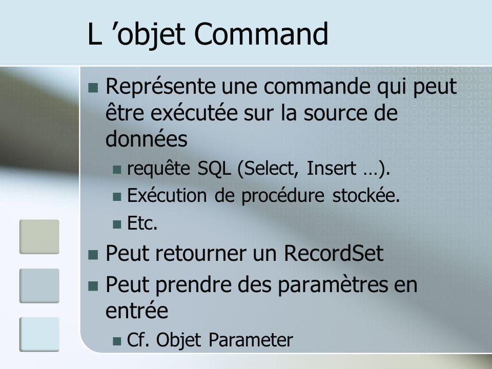 L objet Command Représente une commande qui peut être exécutée sur la source de données requête SQL (Select, Insert …).