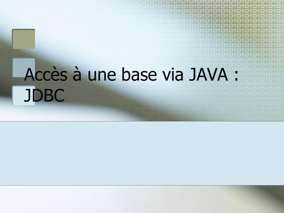 Accès à une base via JAVA : JDBC