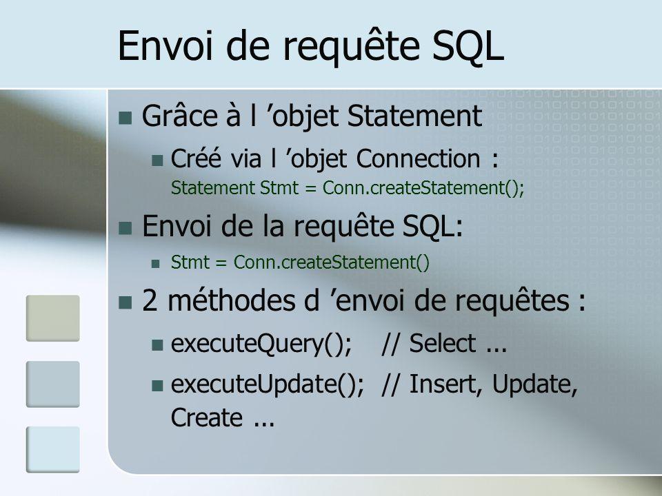 Envoi de requête SQL Grâce à l objet Statement Créé via l objet Connection : Statement Stmt = Conn.createStatement(); Envoi de la requête SQL: Stmt = Conn.createStatement() 2 méthodes d envoi de requêtes : executeQuery();// Select...