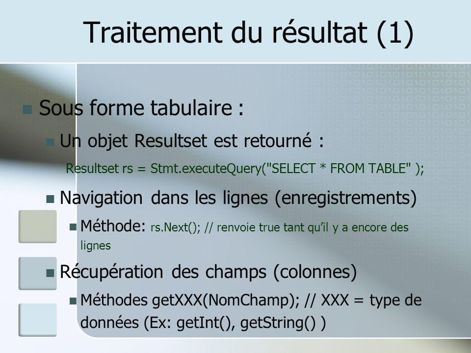 Traitement du résultat (1) Sous forme tabulaire : Un objet Resultset est retourné : Resultset rs = Stmt.executeQuery( SELECT * FROM TABLE ); Navigation dans les lignes (enregistrements) Méthode: rs.Next(); // renvoie true tant quil y a encore des lignes Récupération des champs (colonnes) Méthodes getXXX(NomChamp); // XXX = type de données (Ex: getInt(), getString() )